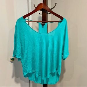 Teal Green 3/4 dolman sleeved Top with back cutout